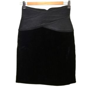 WAYNE CLARK HOLT RENFREW Black Velvet Mini Skirt